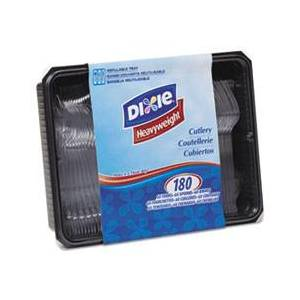 Dixie Cutlery Keeper Tray w/Clear Plastic Utensils: 600 Forks, 600 Knives, 600 Spoons