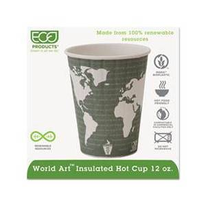 Eco-Products World Art Renewable & Compostable Insulated Hot Cups - 12oz., 40/PK, 15 PK/CT