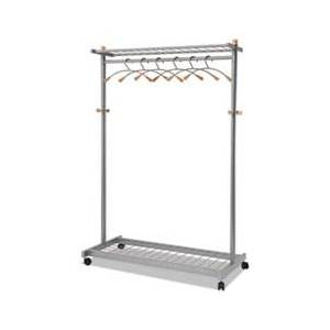 Alba Garment Racks, Two-Sided, 2-Shelf Coat Rack, 6 Hanger/6 Hook, Silver Steel/Wood