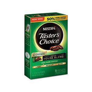 Nescaf Taster's Choice Decaf House Blend Instant Coffee, 0.1oz Stick, 5/Box, 12 Bx/Ctn