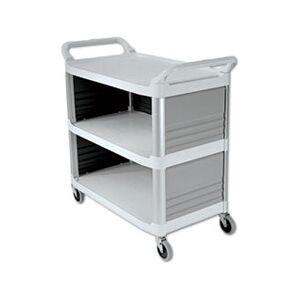 Rubbermaid Commercial Xtra Utility Cart, 300-lb Cap, Three-Shelf, 20w x 40-5/8d x 37-4/5h, Off-White