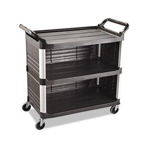 Rubbermaid Commercial Xtra Utility Cart, 300-lb Cap, Three-Shelf, 20w x 40-5/8d x 37-4/5h, Black