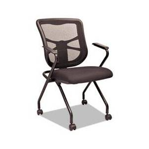 Alera Elusion Mesh Nesting Chairs, Black, 2/Carton, 2 per carton