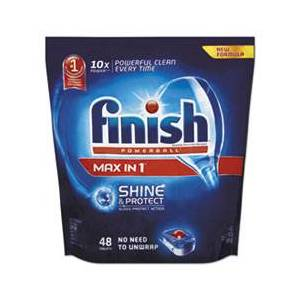 Finish Powerball Max in 1 Dishwasher Tabs, Regular Scent, 43/Pack, 4/Carton