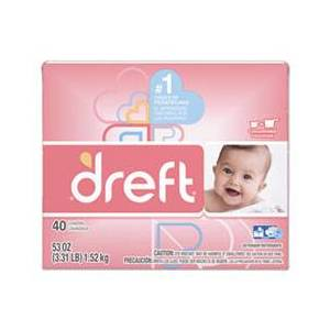 Dreft Ultra Laundry Detergent, Powder, Baby Powder Scent, 53 oz Box