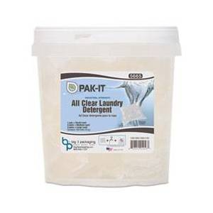 PAK-IT All Clear Laundry Detergent, Fragrance Free, 15 g Paks, 100/Tub, 4/Carton