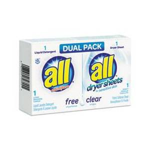 all Free Clear HE Liquid Laundry Detergent/Dryer Sheet Dual Vend Pack, 100/Ctn