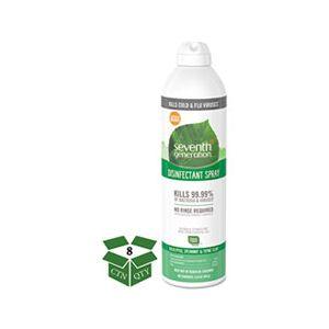 Seventh Generation Disinfectant Aerosol Sprays, Eucalyptus/Spearmint/Thyme, 13.9 oz, Spray, 8/CT