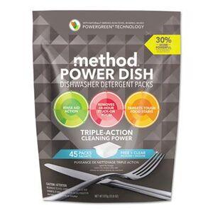 Method Power Dish Detergent Tabs, Fragrance-Free, 45 Tabs/Pack, 6 Packs/CT