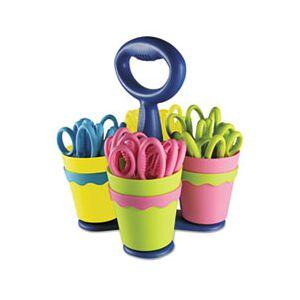 "Westcott School Scissors Caddy w/24 Pairs of Kids' Scissors w/Microban, 5"" Pointed"