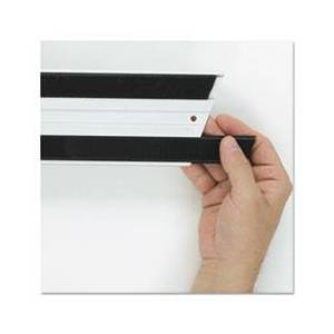 Rubbermaid Commercial Hook & Loop Replacement Strips, 1 1/10w x 18l, Black