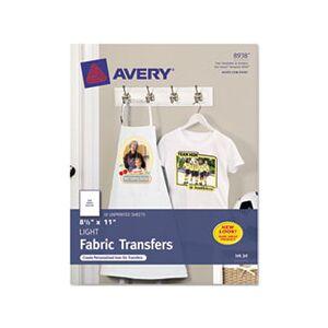 Avery Light Fabric Transfers for Inkjet Printers, 8 1/2 x 11, White, 18/Pack