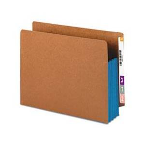 "Smead 3 1/2"" Exp File Pockets, Straight Tab, Letter, Blue, 10/Box"