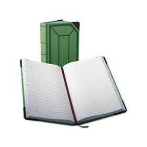 Boorum & Pease Record/Account Book, Record Rule, Green/Red, 500 Pages, 12 1/2 x 7 5/8