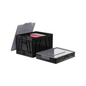 Universal Collapsible Crate, 17 1/4 x 14 1/4 x 10 1/2, Black/Gray, 2/Pack