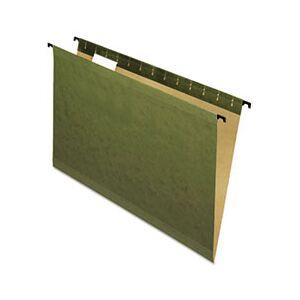 Pendaflex SureHook Poly Laminate Hanging Folders, 1/5 Tab, Legal, Green, 20/Box