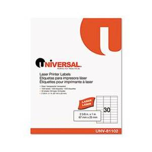 Universal One Laser Printer Permanent Labels, 1 x 2-5/8, Clear, 1500/Box