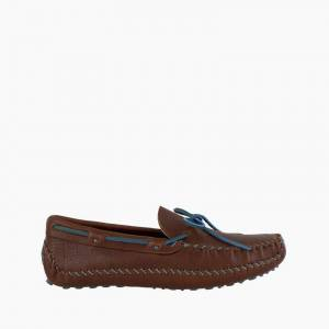 Minnetonka Moccasin   Men's Brown P.W. Driving (Color Accents) in Steel Blue, Size 9N
