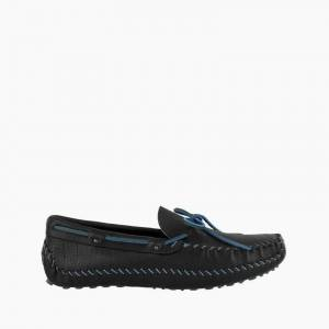 Minnetonka Moccasin   Men's Black P.W. Driving (Color Accents) in Steel Blue, Size 11   Handmade
