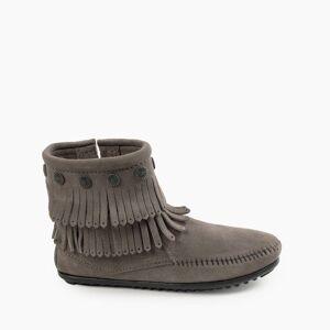 Minnetonka Moccasin   Women's Double Fringe Side Zip Ankle Boot in Grey, Size 8.5   Handmade