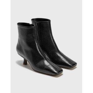 BY FAR Lange Black Snake Print Leather Boots  - Black - Size: EU 37