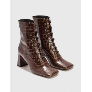 BY FAR Claude Nutella Croco Embossed Leather Boot  - Brown - Size: EU 37