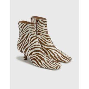 BY FAR Lange Zebrina Beige Leather Boots  - Multicolor - Size: EU 39