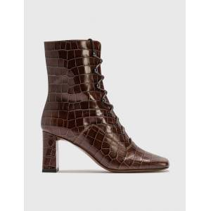 BY FAR Claude Nutella Croco Embossed Leather Boot  - Brown - Size: EU 36