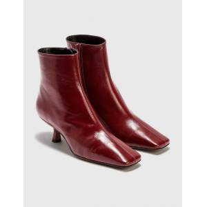 BY FAR Lange Bordeaux Creased Leather Boots  - Red - Size: EU 39