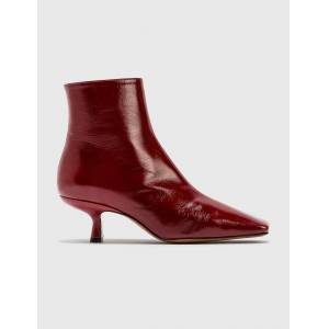 BY FAR Lange Bordeaux Creased Leather Boots  - Red - Size: EU 36