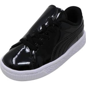 Puma Girl's Basket Crush Patent Ac Inf Black / White Ankle-High Sneaker - 3M