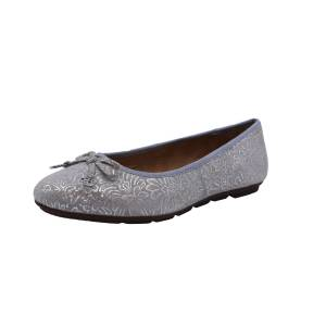 Hush Puppies Women's Abby Bow Ballet Silver Metallic Print Leather - 9.5M