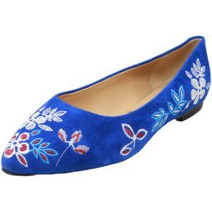 Trotters Women's Estee Embroidery Blue Suede Ballet - 7.5W