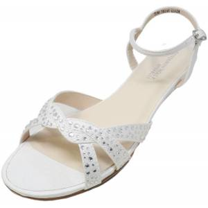 Dyeables Women's Lena White Ankle-High Fabric Sandal - 6W