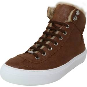 Jimmy Choo Women's Argyle Shiny Waxed Leather Mink Brown High-Top Sneaker - 11.5M