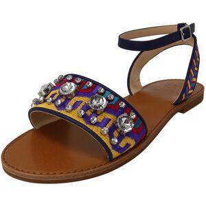Vince Camuto Women's Akitta Mustard Multi / Moody Blue Fabric Sandal - 6.5M