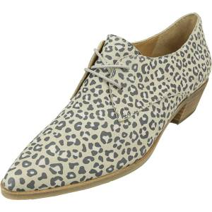 Lucky Brand Women's Erreka Romo Leopard Titanium Ankle-High Leather Oxford - 12M
