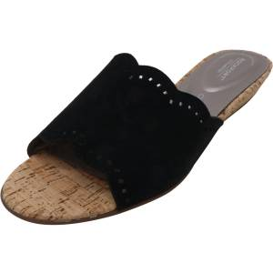 Rockport Women's Total Motion Zandra Slide Black Leather Wedged Sandal - 8.5M