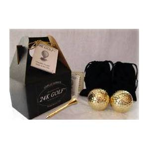 24 K Gold Golf Balls 24K Gold Dipped Golf Ball and 24K Tees - 2
