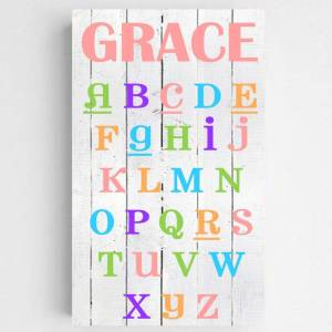 JDS Marketing & Sales Personalized Colorful ABC Alphabet Accented Girls Canvas Sign