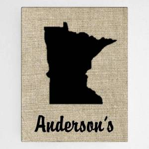 JDS Marketing & Sales Customized Country Home State Burlap Design Canvas Sign