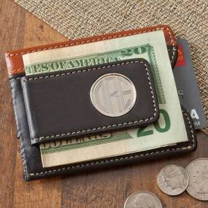 JDS Marketing & Sales Personalized Leather Two Toned Magnetic Money Clip Wallet
