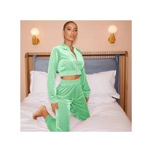 SHEIN Zip Up Velvet Crop Jacket & Sweatpants Set  - Bright Mint Green - Size: Large