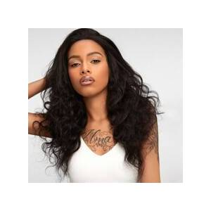 SHEIN 13*4 Lace Front 150% Long Curly Human Hair Wig  - Black - Size: 12 Inch 14 inch 16 inch 18 inch 20 inch 22 inch 24 inch 26 inch
