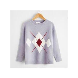 SHEIN Girls Drop Shoulder Argyle Pattern Sweater