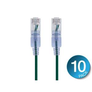 Monoprice SlimRun Cat6A Ethernet Patch Cable - Snagless RJ45, UTP, Pure Bare Copper Wire, 10G, 30AWG, 7ft, Green, 10-Pack