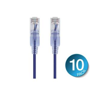 Monoprice SlimRun Cat6A Ethernet Patch Cable - Snagless RJ45, UTP, Pure Bare Copper Wire, 10G, 30AWG, 7ft, Purple, 10-Pack
