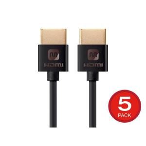Monoprice Ultra Slim Series High Speed HDMI Cable - 4K@60Hz HDR 18Gbps 34AWG YCbCr 4:4:4, 6ft Black 5-Pack