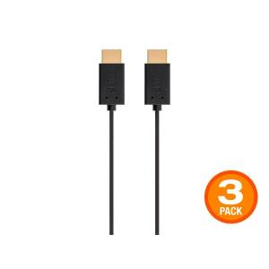 Monoprice 4K Flex Small Diameter High Speed HDMI Cable 2ft - 18Gbps Black - 3 Pack