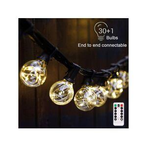 MPM Outdoor LED String Lights Indoor Patio Garden G40 Globe Plastic Light Bulbs Waterproof  Shatterproof 25Ft E12 Socket Base (25FT)